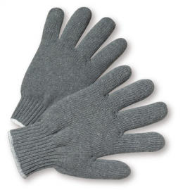 Med. Weight Gray String Knit Poly/Cotton Gloves, Ladies