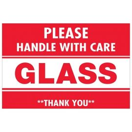 Glass - Handle With Care Labels - 2 x 3