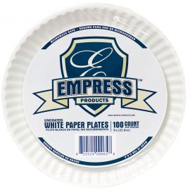 Empress Uncoated Paper Plates 9in