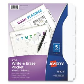 Avery® Write & Erase Durable Plastic Dividers with Pocket