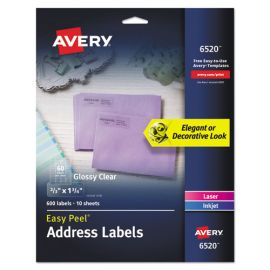 Avery® Glossy Clear Easy Peel® Mailing Labels
