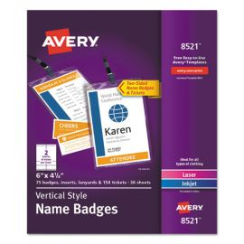 Avery® Name Badge Holders Kit with Inserts