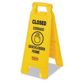 """Rubbermaid® Commercial Multilingual """"Closed"""" Folding Floor Sign"""