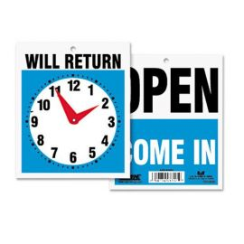 Headline® Sign Double-Sided Open/Will Return Sign with Clock Hands