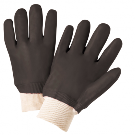 PVC Double Dipped Gloves, Rough Sandy Finish, Jersey Lined, Knit Wrist