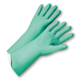 Green Nitrile Gloves - 13in - Flock-Lined