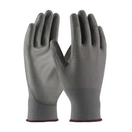 Gray Nylon Knit, Gray PU Coated Gloves