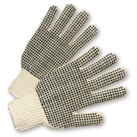 Ladies PVC Dotted Both Sides String Knit Gloves