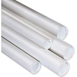 White Mailing Tubes with Plastic Caps - 3 x 9